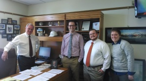 Ukiah Hawkins with Rep. Gomberg (l) and staff